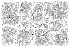 Sketchy vector hand drawn Doodle cartoon set of Royalty Free Stock Photo