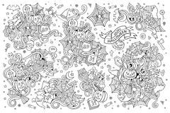 Sketchy vector hand drawn Doodle cartoon set of Stock Image