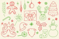 Sketchy vector hand drawn Doodle cartoon set of objects and symbols on the Merry Christmas. Theme royalty free stock photo