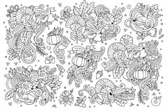 Sketchy vector hand drawn Doodle cartoon set of Royalty Free Stock Image