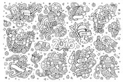 Sketchy vector hand drawn Doodle set of New Year Royalty Free Stock Photography