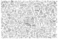 Sketchy vector hand drawn Doodle set of New Year Stock Photos