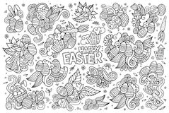 Sketchy vector hand drawn doodles cartoon set of Easter objects Royalty Free Stock Photos