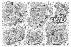 Sketchy vector hand drawn doodles cartoon set of Easter objects Royalty Free Stock Image
