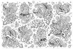 Sketchy vector hand drawn doodles cartoon set of Music objects Stock Images