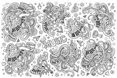Sketchy vector hand drawn doodles cartoon set of Music objects Royalty Free Stock Photography
