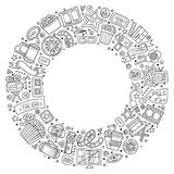Set of Cinema cartoon doodle objects. Sketchy vector hand drawn set of Cinema cartoon doodle objects, symbols and items. Round frame composition Royalty Free Stock Image
