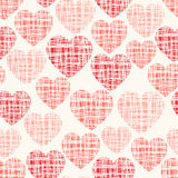 Sketchy vector seamless pattern with hearts Stock Images
