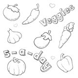 Sketchy Veggies Stock Photography