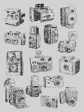Sketchy Vintage Camera Set Stock Photography