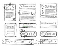 Sketchy web set doodle Royalty Free Stock Images
