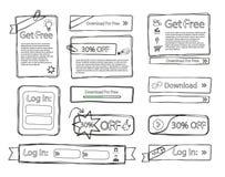Sketchy web set doodle stock illustration
