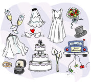 Sketchy Wedding Icons. A mega-collection of stylized wedding icons including champagne flutes, a bridal gown, two styles of veil, two styles of bouquet, tophat Stock Image