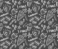 Sketchy white coffee shop pattern Stock Image