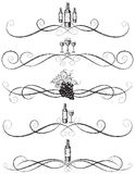 Sketchy wine scrollwork Royalty Free Stock Images