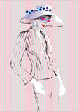 Sketh of fashionable elegant woman in a suit and hat in glassess.vector illustration Stock Photo