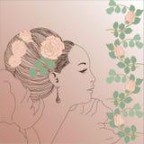 Sketh vintage woman. Ellement for design, decorativ, background, postcard Royalty Free Illustration