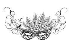 Skethc carnival mask. Sketch carnival mask. Black outline and decorated with beautiful patterns and flowers. Vector illustration Stock Image