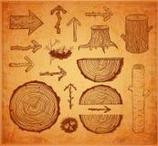 Skethces des coupes, des rondins, du tronçon et des flèches en bois Photo stock