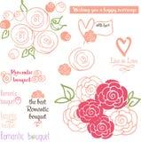 Skethed den romantiska buketten för bröllop, hand rosor Arkivfoton