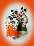 Sketon twins. Skeleton twins ceramic decoration for halloween Stock Images