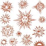 Sketshes de Sun ilustração stock