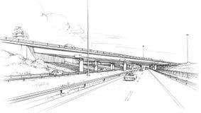Skew bridge on the freeway Stock Image