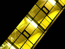 Skewed illuminated hallway. Diagonally shot illuminated hallway with stairs and yellow light, looks modern and good contrast between yellow and black Royalty Free Stock Photography