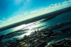 Skewed. View of Auckland's Harbor Bridge New Zealand Royalty Free Stock Photography