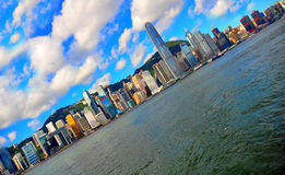 Skewed view of hong kong harbor. Morning view of spectacular victoria harbor   with a skewed perspective Royalty Free Stock Image