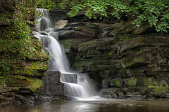 Skewen waterfalls. The almost unknown waterfalls near Neath Abbey on the river Clydach, Skewen, South Wales stock photo