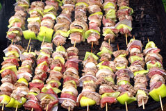 Skewer. Traditional greek food also called souvlaki stock photo