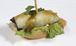 Skewer bacalao al pil pil Royalty Free Stock Images
