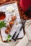 Skewer of beef or lamb kebab with spicy sauce on a board royalty free stock image
