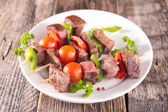 Skewer beef and tomato Royalty Free Stock Images