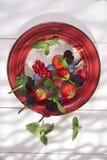 Skewer of berries in pot Stock Images