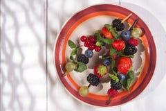 Skewer of berries in pot Royalty Free Stock Photo