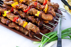 Skewer - big Plate with grilled,mixed meat and veg Stock Photography
