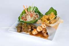 Skewer combination plate Royalty Free Stock Photo