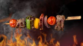 Skewer. In the flames, close-up stock images