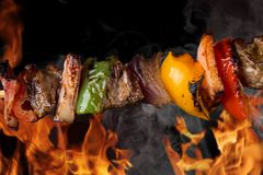 Skewer. In the flames, close-up royalty free stock photos