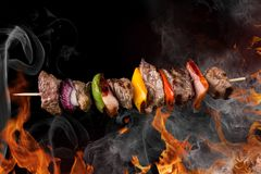 Skewer. In the flames, close-up royalty free stock photo