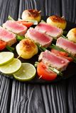 Skewer of fresh tuna, tomatoes, new potatoes and green onions cl. Ose-up on the table. vertical Stock Photography