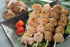 Skewer. Grilled meat ball skewer platter royalty free stock image