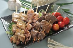 Skewer. Grilled pork meat beef skewer platter stock photos