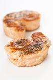 Skewer of grilled seasoned salmon Royalty Free Stock Images