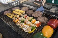 Skewer And Kebabs On Barbecue Grill Stock Images