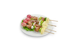 Skewer of mixed meat and vegetables isolated on white background,clipping path. Skewer meat and vegetables isolated on white background,clipping path Royalty Free Stock Photo