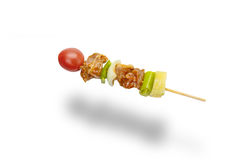 Skewer of mixed meat and vegetables isolated on white background. Skewer meat and vegetables isolated on white background,clipping path Stock Images
