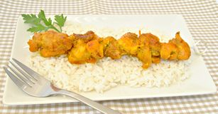 Skewer pork with rice Stock Photo